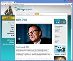 Disney Legends:(故)フランク・ウェルズ氏
