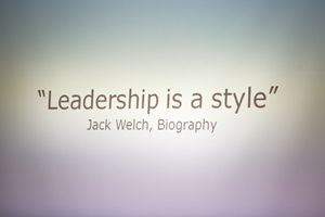 Leadership is a style
